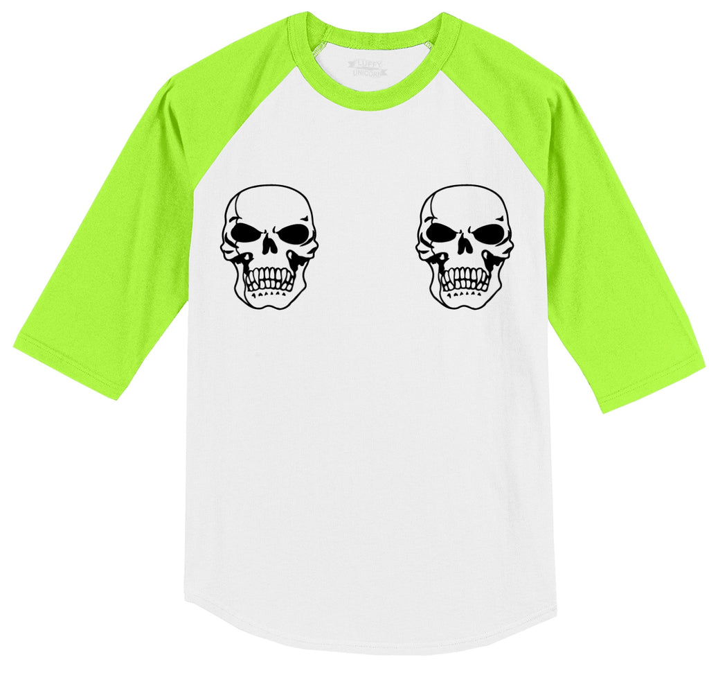Skull Boobs Mens 3/4 Sleeve Raglan Jersey