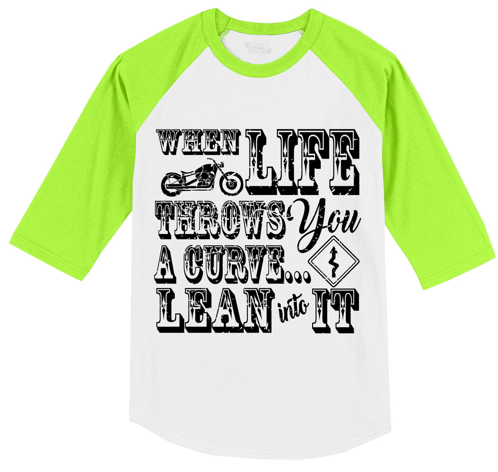 When Life Throws You A Curve Motorcycle Mens 3/4 Sleeve Raglan Jersey