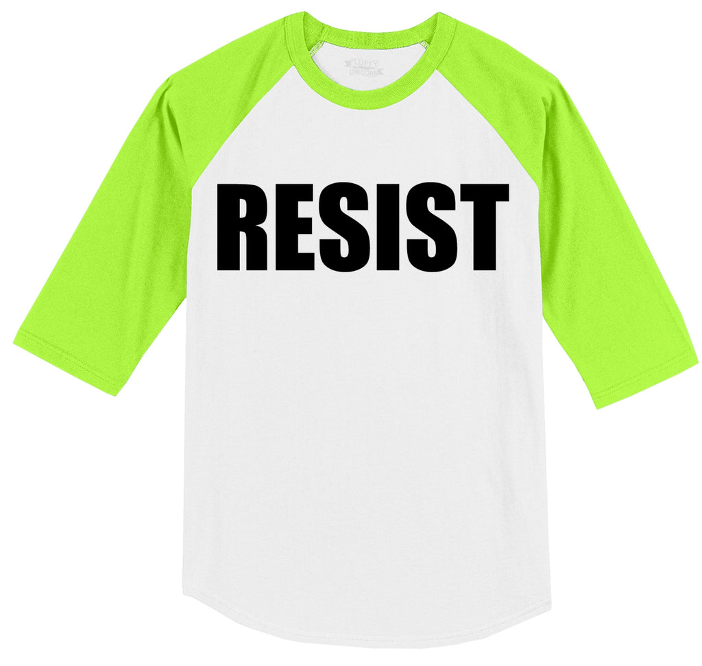Resist Tee Anti Donald Trump Political Protest Trump Rally Tee Mens 3/4 Sleeve Raglan Jersey
