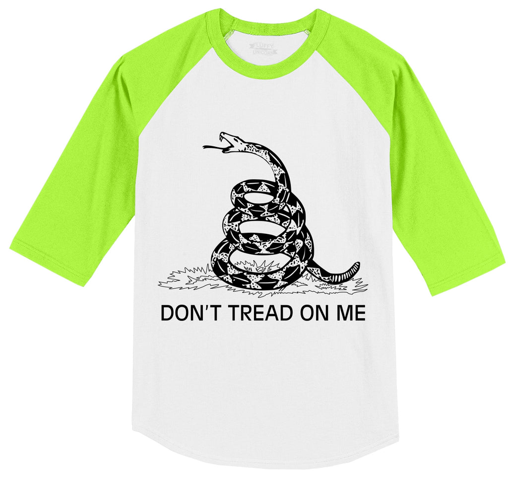 Gadsden Flag Don't Tread On Me Mens 3/4 Sleeve Raglan Jersey