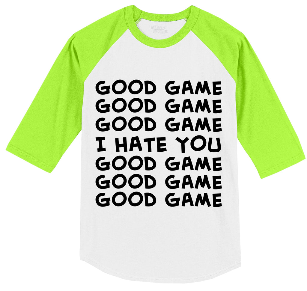 Good Game I Hate You Sport Team Mens 3/4 Sleeve Raglan Jersey