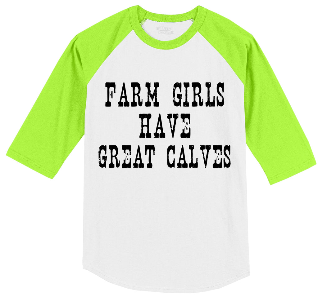 Farm Girls Have Great Calves Mens 3/4 Sleeve Raglan Jersey