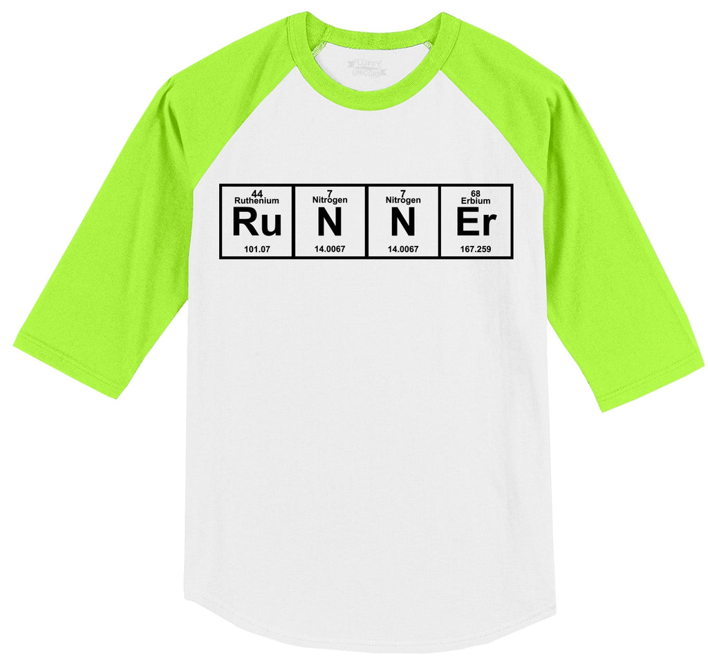 Runner - Periodic Table Of Elements Mens 3/4 Sleeve Raglan Jersey
