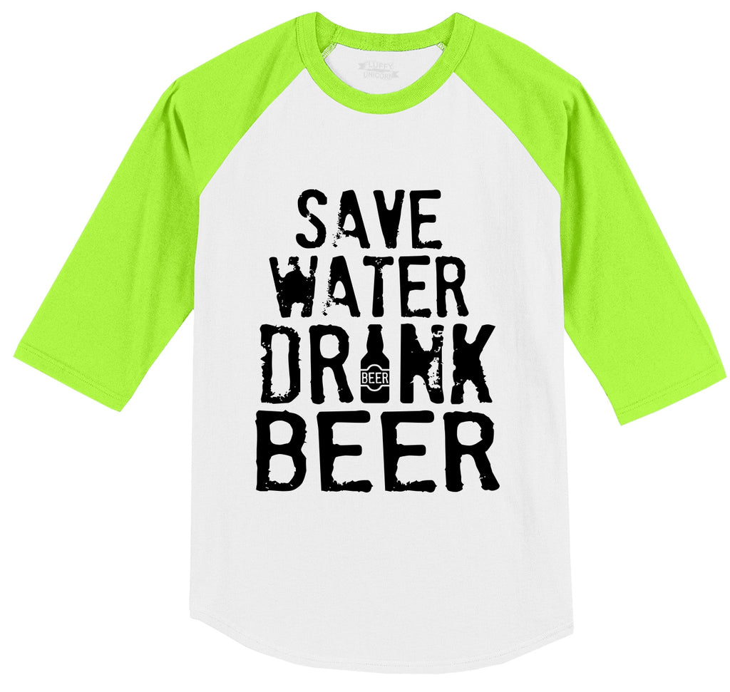 Save Water Drink Beer Mens 3/4 Sleeve Raglan Jersey