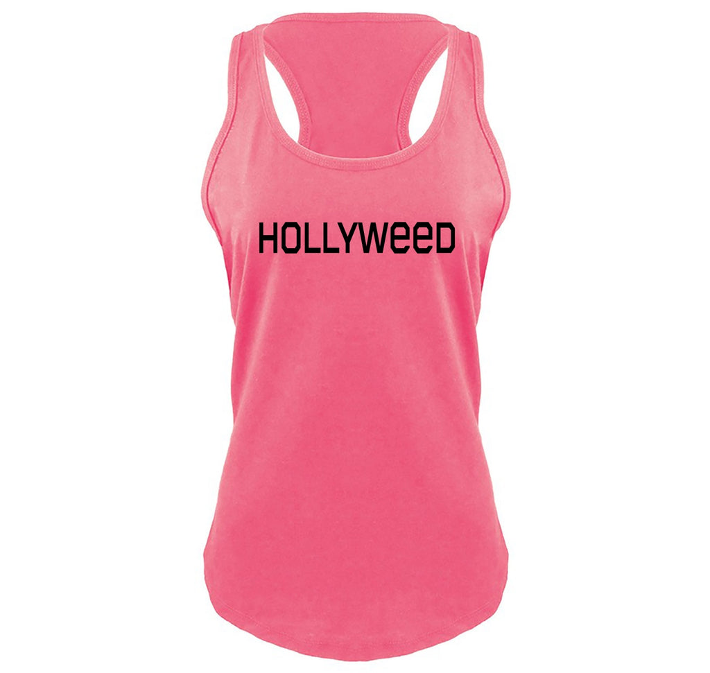 Hollyweed Funny Tee CA LA Hollywood Sign News Weed Stoner Cali Gift Tee Ladies Gathered Racerback Tank Top