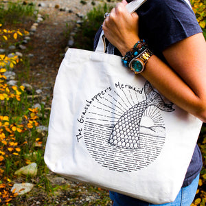 grasshopper's mermaid reusable cotton canvas bag