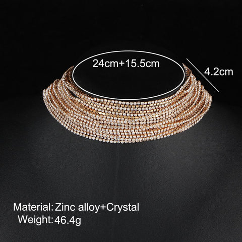 Multiple Layer Rhinestone Crystal Choker Necklace for Women - Beads Bands and Things