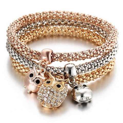3 Pc Set Crystal Crown Charm Bracelets Rose, Gold, and Silver