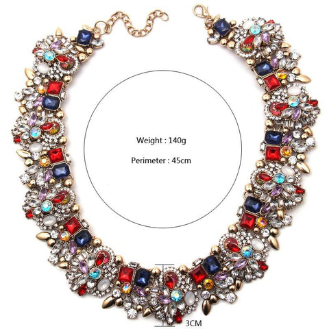 Women's Colorful Statement Necklace Collier - Beads Bands and Things