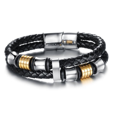 Men's Multilayer Leather Bracelet with Magnetic Clasp - Beads Bands and Things