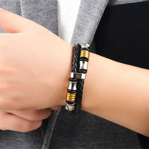 Men's Multilayer Leather Bracelet with Magnetic Clasp