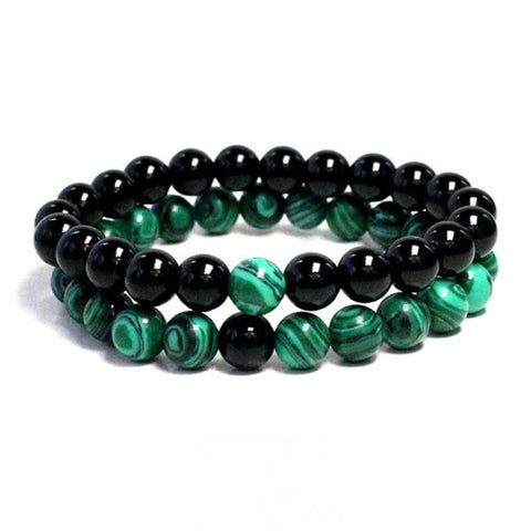 2pc Trendy Black and Green Natural Stone Beaded Bracelet - Beads Bands and Things