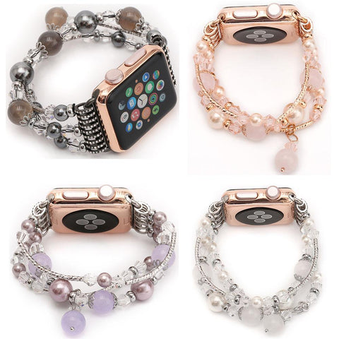 Women's Agate Stretch Bracelet for Apple Watch Band for iWatch Seies 1/2/3 42mm 38mm - Beads Bands and Things