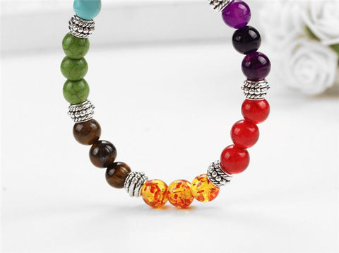 7 Chakra Healing Balance Colorful Beaded Bracelet - Beads Bands and Things