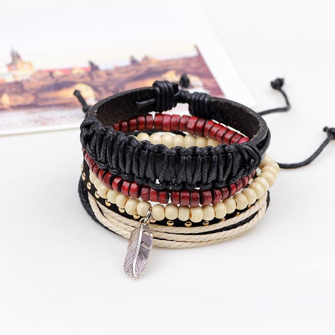Men's  Bohemian Wood & Leather Bracelet - Beads Bands and Things