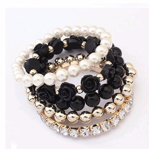 Women's Stretch Mixed Beads Temperament Bracelet with Flowers