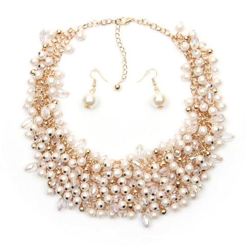 Simulated Pearl Statement Necklace w/ Matching Pearl Earrings - Beads Bands and Things