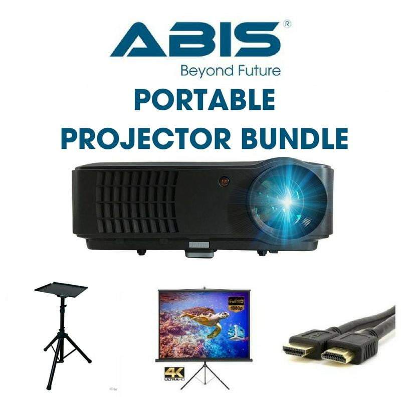 Portable Projector Bundle- Projector + Tripod Screen Screen + Projector Stand + HDMI Cable - (Black) - ABIS