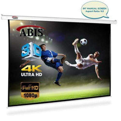 "ABIS 72"" Manual Pull Down Projector Screen 4:3 Native Screen 16:9 Compatible - ABIS"