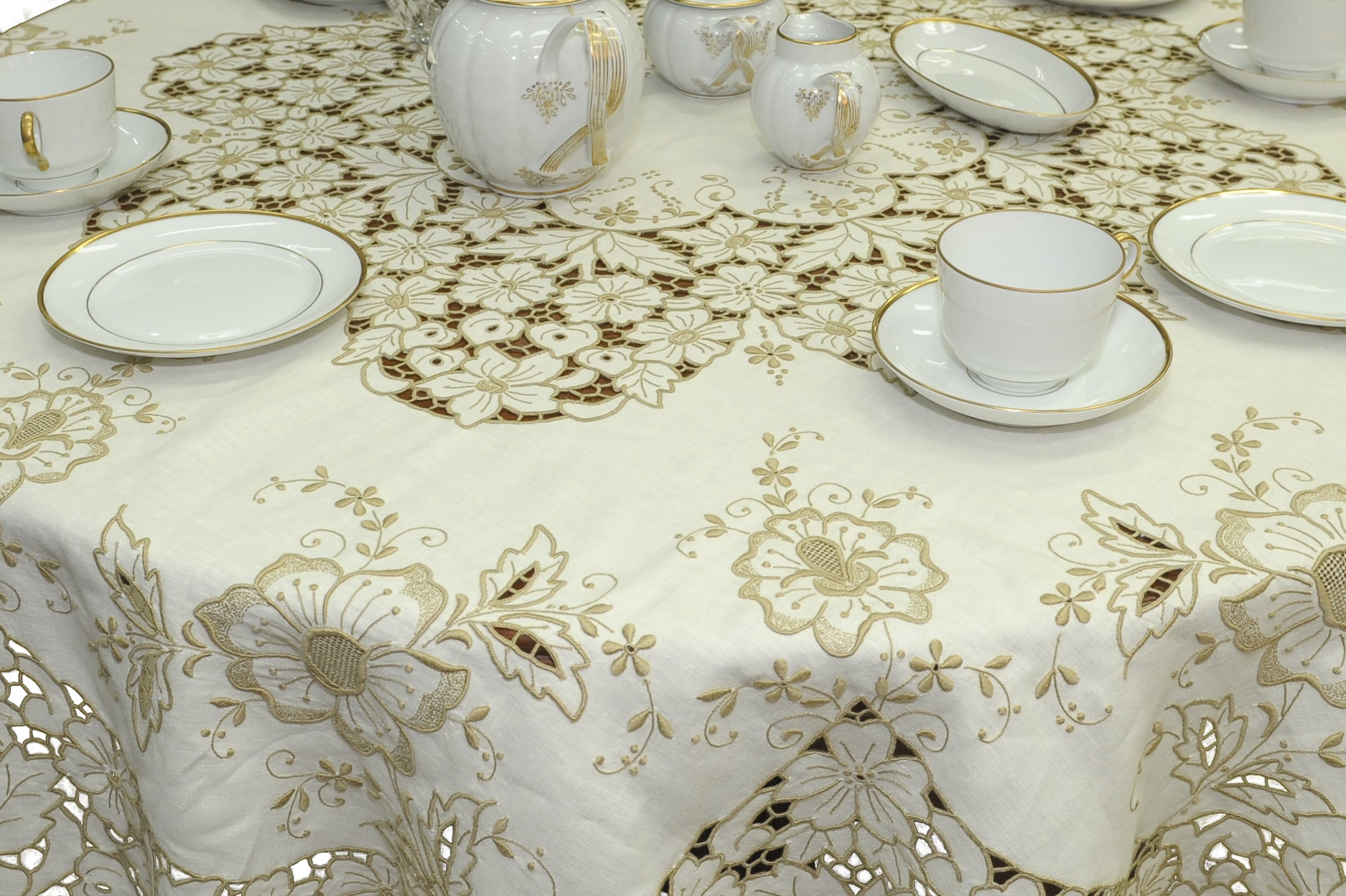 Handmade Madeira Embroidered Ecru Linen Tablecloth