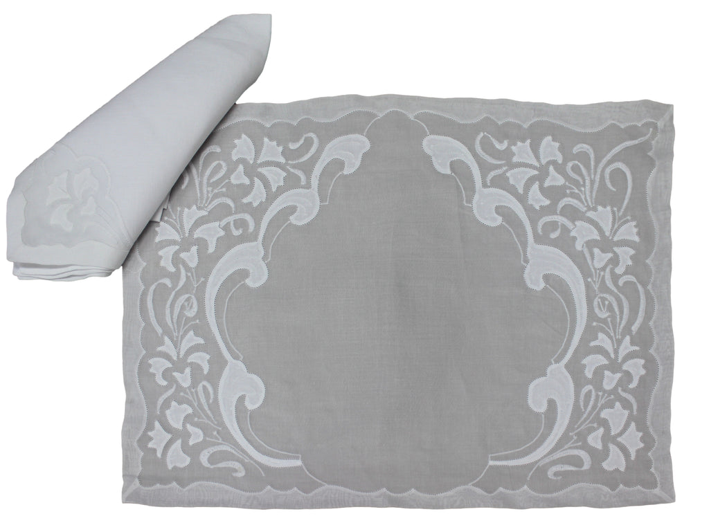Handmade Madeira Embroidered White Organdie and Linen Placemat and Napkin