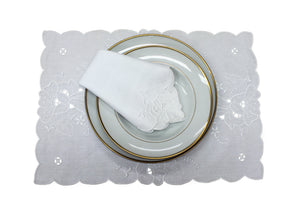 Handmade Madeira Embroidered White Linen Placemat and Napkin