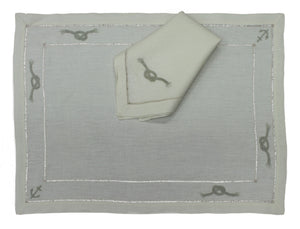 Handmade Madeira Embroidered Ecru Linen Placemat and Napkin