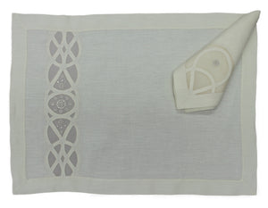 Handmade Madeira Embroidered Ecru Organdie and Linen Placemat and Napkin
