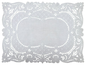 Handmade Madeira Embroidered White Linen Napperon