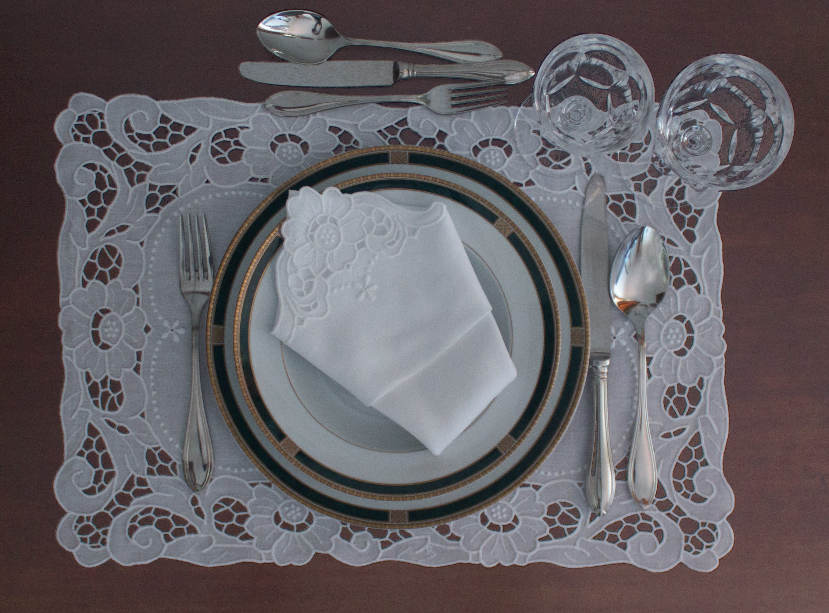 Handmade Madeira Embroidered White Placemat and Napkin