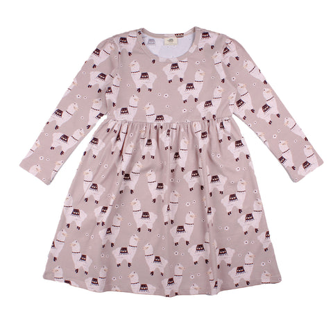 Soft Dusty Rose Long Sleeve Dress -Little Alpacas Print