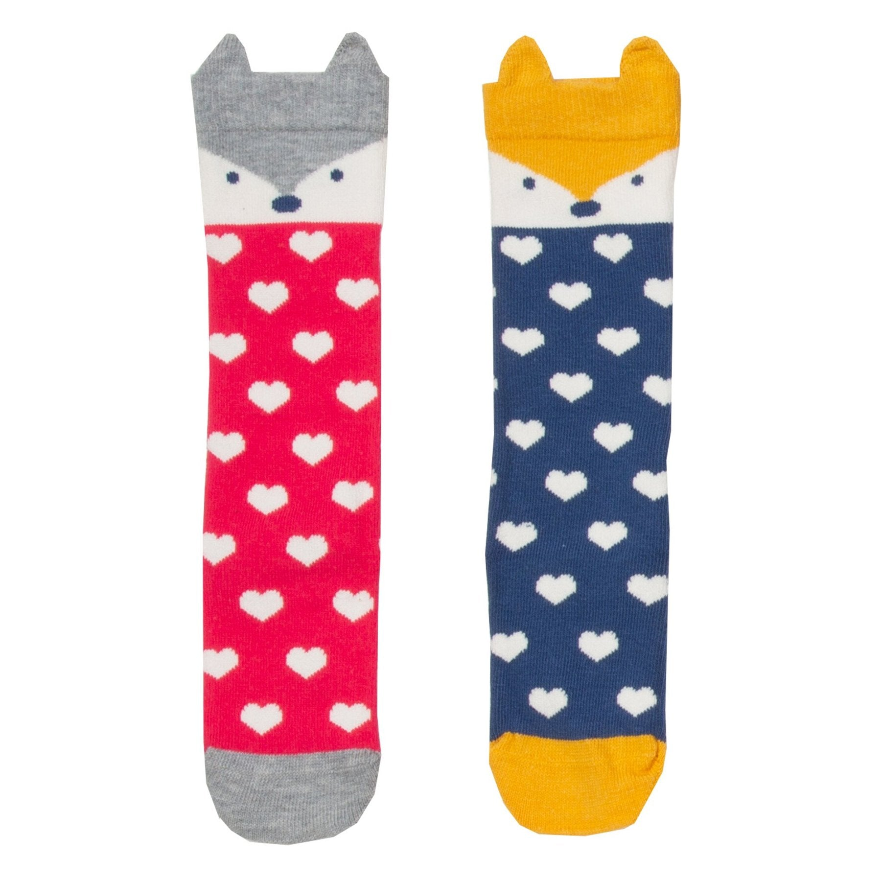 2-Pack Knee High Socks -Fox and Hearts