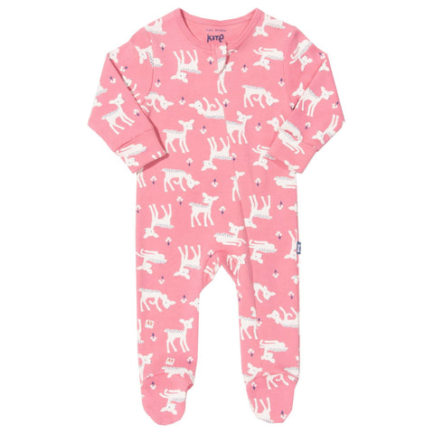 Rose Pink Footed Sleepsuit -Little Deer