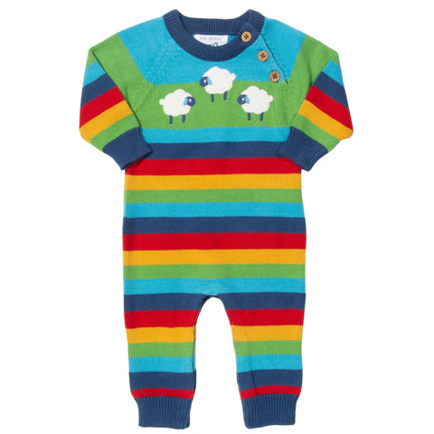 Knit Romper -Rainbow stripe