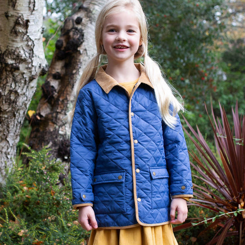 Navy Blue Padded Style Country Coat