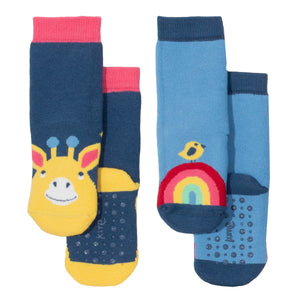 Giraffe / Rainbow 2-Pack Grippy Socks