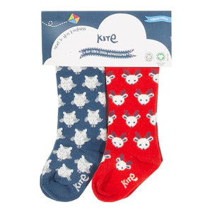 Owl/Deer Two-pack Blue & Red Baby Socks