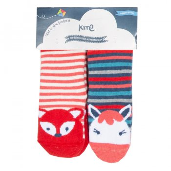 Two Pack Striped Grippy Infant Socks Pony & Fox