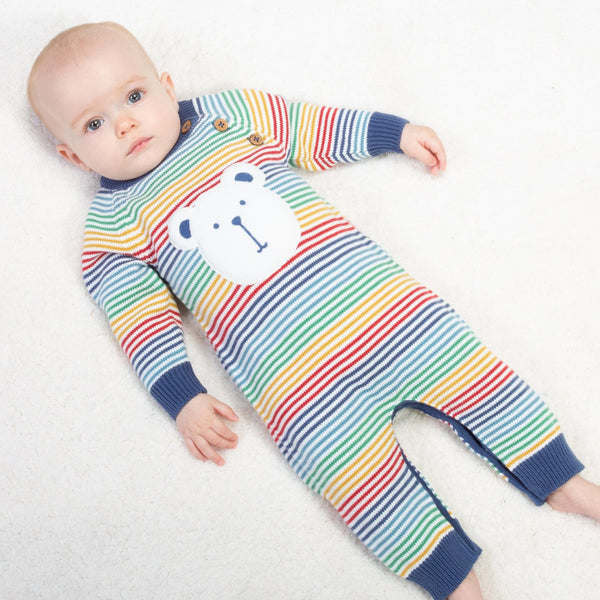 Stripes-of-Rainbow Bear Face Footless knit Jumpsuit