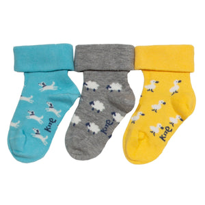 Three-pack farm garden baby socks