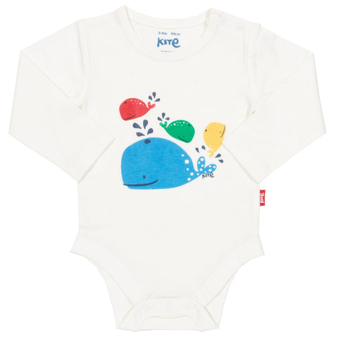 Playful Whales Cream Baby Bodysuit