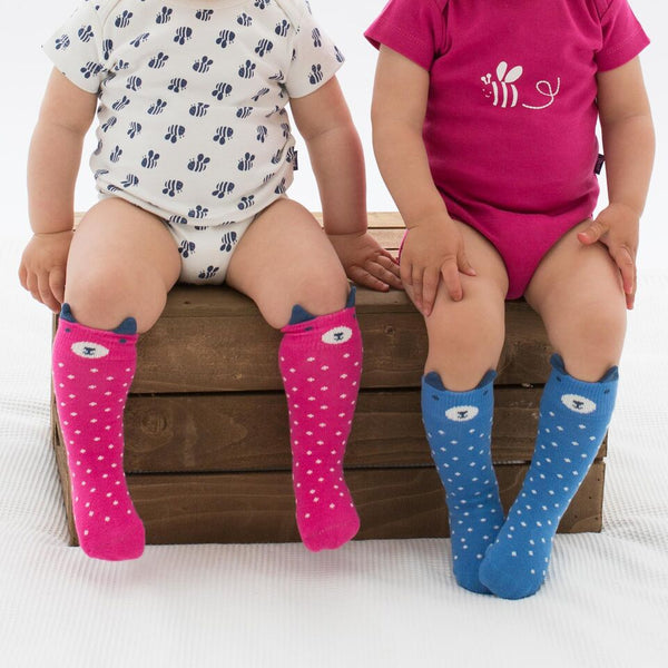 Pink & Blue 2-Pack Bear Socks