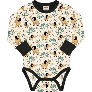 Long Sleeve Bodysuit -Elephant Garden Print-