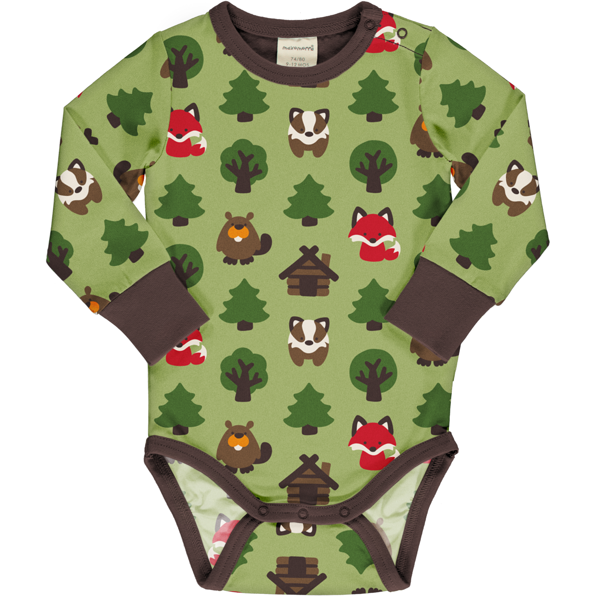 Long Sleeve Bodysuit -Green Forest-
