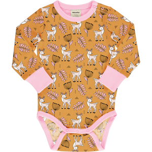 Long Sleeve Bodysuit -Poppy Deer Print-