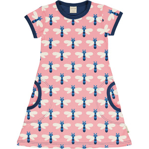 Short Sleeve Dress -Dragonfly Print
