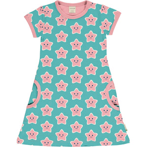 Short Sleeve Dress -Starfish Print