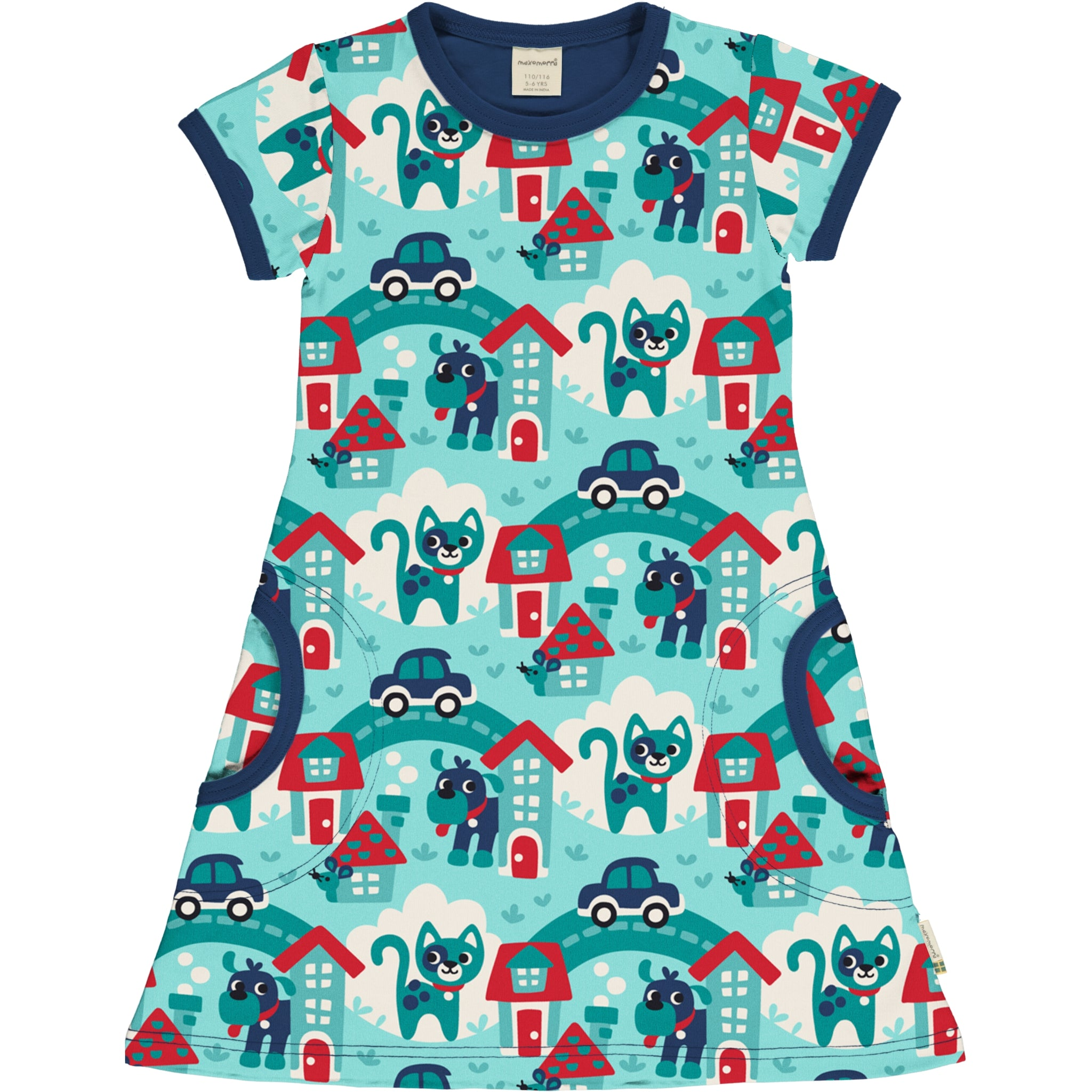 Short Sleeve Dress -Town Print