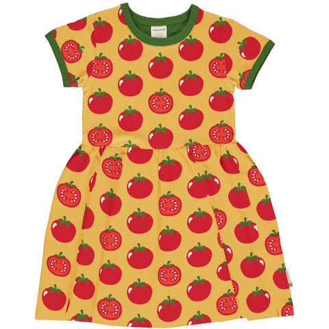 Short Sleeve Spin Dress -Tomato Print
