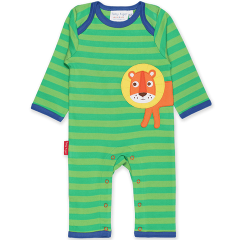 Walking Lion Applique Sleepsuit & Blue Triangle Knot Hat Set